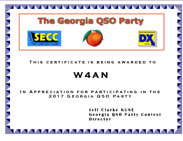 Georgia QSO Party Certificate